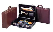 "Winn International ""The Executive"" Expandable Top Grain Leather Attache Black"