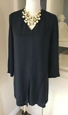 Theory Dress, Size 2, Navy Blue Silk , Long Sleeved, Front Pleat, Lined