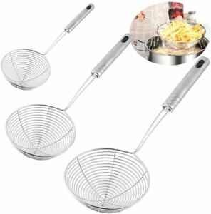 3 PCS Spider Skimmer Strainer Ladle Deep Frying Spoon and Stainless Steel Wire
