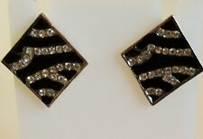toned Square earrings with clear crystals Zebra Animal Print Stud Earring silver