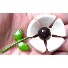 "cute Vintage tan beige enamel Flower Brooch Pin 3"""
