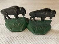 Pair Of Vintage Metal Bookends Buffalo Bison Hand Painted Collectible Americana