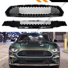 For 18-19 Ford Mustang Bullitt Style Glossy Black Honeycomb Upper + Lower Grille