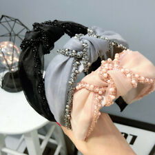 Boho Women's Knot Headband Hairband Pearl Tie Crystal Hair Band Hoop Accessories