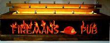 LED LIGHTED 18 BEER Tap handle display FIREMANS PUB BAR SIGN 3 levels