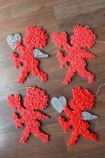 Lot 4 Mini Vintage Plastic Popcorn Valentines Day Cupid Window Home Decorations