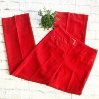 Anthropologie Leifsdottir Red wide leg crepe pants size 4