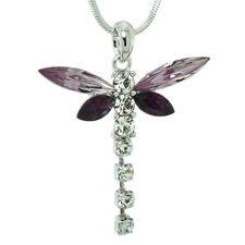 Anne Koplik Turquoise Lavender Enamel Swarovski Crystal Dragonfly Necklace NS787