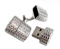USB-Stick Manschettenknöpfe silbern 1,8 GB + Buch-Geschenkbox MM0851 SALE