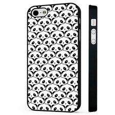Patrón de Oso Panda caso cubierta de teléfono negro de origen animal se adapta iPhone