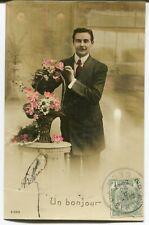 CPA - Carte Postale - Fantaisie - Portrait d'Homme - Un Bonjour - 1912 (M7909)