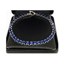 "23.37Ct Round Sapphire Tennis Bracelet Fine Jewelry 14K Gold Over 7"" Halloween"