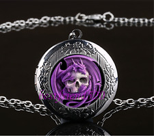 Purple Dragon And Skull Cabochon Glass Gun Black Locket Pendant Necklace