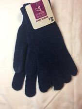 NWT Ladies Bobbie Brooks Knit Gloves - 1 pair Blue Super Soft Acrylic Blend