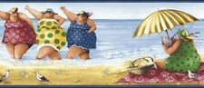 Wallpaper Border Designer Whimsical Ladies at the Beach with Blue Trim