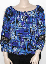 NWT ECI 3/4 Sleeve Cold Shoulder Printed Peasant Top BLACK/BLUE/SMALL