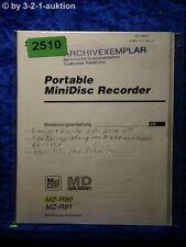 Sony Bedienungsanleitung MZ R90 / R91 Mini Disc Recorder (#2510)