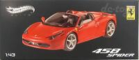 Hot wheels Elite  Ferrari 458 Spider Italia Limited Edition 1:43 Red W1182