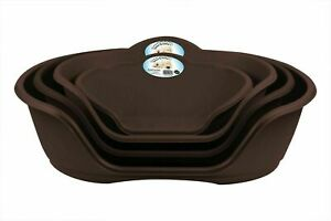 Pet Dog Puppy Cat Plastic Bed Basket Heavy Duty Waterproof All Sizes Brown NEW