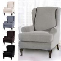 2x Soft Wing Chair Slipcover Couverture élastique Housse Canapé Fauteuil BM
