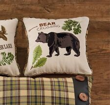 BEAR CROSSING ACCENT PILLOW COVER : 16 x 16 BROWN PLAID CABIN LODGE RUSTIC