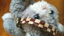 Cat Collar Handmade - Brown & Cream Colored Checkerboard Cotton Fabric