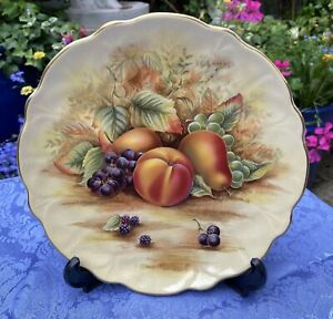 """Aynsley China Orchard Gold , Decorative Plate, 8"""" excellent condition"""