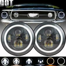 """2PCS 7"""" Round CREE LED Headlights Halo Hi-Lo Beam DRL For Ford Mustang 1965-1978"""