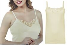 Ladies 8-18 Yellow Cotton Vest Top Lace Trim Cami Tank Strappy Camisole💛LICK💛