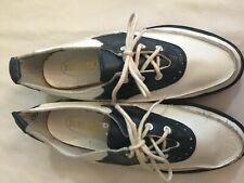 Vintage 1960s Sundaes Navy/White Saddle Oxford Shoes Nos Sz 5 Leather Wedge New