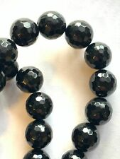 """16"""" Strand Genuine Faceted Black Onyx Beads - 12mm Round  - Quality Select"""