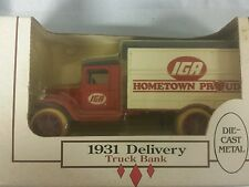 1990 Ertl 1931 IGA Delivery Truck Diecast Bank 1/34 Scale New in box