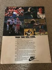 "Vintage 1979 NIKE ""YOUR TIME WILL COME"" Poster Print Ad 1980 OLYMPICS SUPPORT"