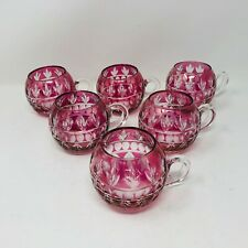 Nachtmann Set of 6 Punch Cup Glasses Pink Cranberry Cut to Clear Bohemian Czech
