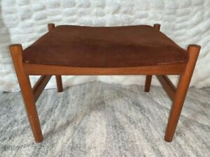 Mod Century Modern Spottrup Denmark Teak Wood Suede Leather Furniture Ottoman