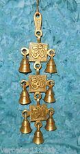 Sacred Om Symbols Solid Brass Wall Hanging Windchime New Aum 7 bells 13� long