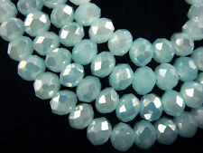 100Pcs Jade Aque Blue AB Crystal Glass Faceted Rondelle Bead 6mm Spacer Findings