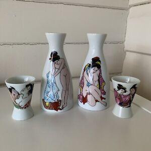 Porcelain Vases Geisha Japan Motive 2 Flower Bud Vases  13cm High