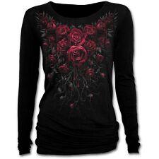 Spiral Direct BLOOD ROSE Women's Long Sleeve Baggy Top, Goth, Rock, Biker, Roses