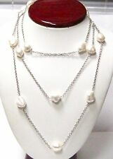 Fine 55 Inch Natural Pearl Baroque String Necklace 14k White Gold
