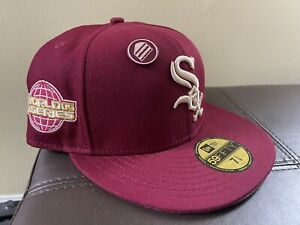 Hat Club Exclusive RED VELVET 7 5/8 CHICAGO White Sox pin cubs camp fire aux