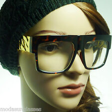 RETRO Gold Chain Party Rapper DJ Square Rectangle Frame Clear Lens Eye Glasses