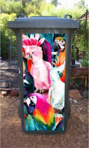 Rainbow birds wheelie bin sticker