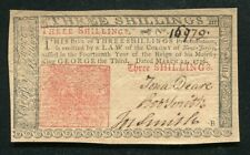 NJ-177 MARCH 25, 1776 3s THREE SHILLINGS NEW JERSEY COLONIAL CURRENCY NOTE AU