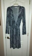 Joan Rivers L BlkGray Snake Reptile Wrap Dress.