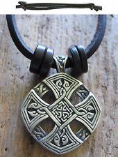 CRUZ OF LIFE amuleto celta Madera Collar Cuero Hombres Negro Nueva Cadena Cruz