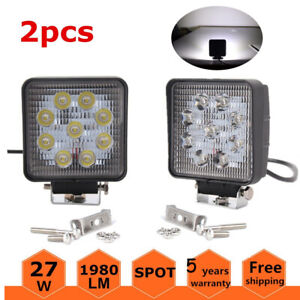 1800LM 27W Square Waterproof Offroad White LED Work Light Spot Fog Driving Lamps