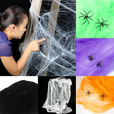 Spider Web Halloween Props Home Party Bar Decoration Stretchy Cobweb / 2 Spider
