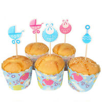 Baby Shower Cupcake Toppers Boys & Girls Favors Party Decor Supplies Hot x 18