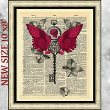 ART Print on DICTIONARY BOOK PAGE Power of Wings GOTHIC STEAMPUNK VINTAGE